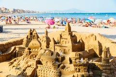 Sand Castle Building On Peniscola Beach Resort At Mediterranean Sea Royalty Free Stock Photo