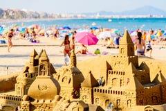 Sand Castle Building On Peniscola Beach Resort At Mediterranean Sea Stock Images