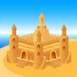 Sand Castle Building Sea Horizon Summer Beach Background Stock Photography