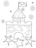 Sand castle coloring page Royalty Free Stock Photography