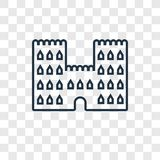 Sand castle concept vector linear icon isolated on transparent b royalty free illustration