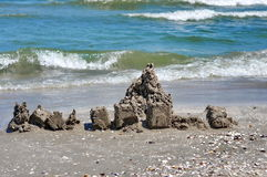 Sand castle. Seascape. Summer, sea, sun, beach, fun, holiday - Black Sea, landmark attraction in Romania Royalty Free Stock Image