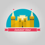 Sand castle illustration. In flat style on blue background. Summer time illustration Stock Photos