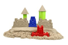 Sand Castle Isolated On White Background. Sand Castle Made From Kinetic Sand (Magic Sand) Isolated On White Background, Front View, Close Up royalty free stock photo