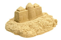 Sand Castle Isolated On White Background. Single Sand Castle Made From Kinetic Sand or Isolated On White Background, Concept for Indoor Children Creativity royalty free stock image