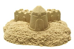 Sand Castle Isolated On White Background. Single Sand Castle Made From Kinetic Sand or Magic Sand Isolated On White Background, Concept for Indoor Children stock image