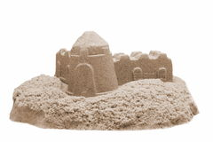 Sand Castle Isolated On White Background. Single Sand Castle Made From Kinetic Sand or Magic Sand Isolated On White Background, Concept for Indoor Children royalty free stock photos
