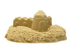 Sand Castle Isolated On White Background. Single Sand Castle Made From Kinetic Sand or Magic Sand Isolated On White Background, Concept for Indoor Children royalty free stock image