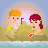 Sand castle Mascot cartoon great for any use. Vector EPS10. Stock Image