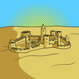 Sand castle pop art style vector illustration Stock Images