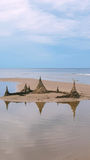 Sand castle on the sandy shore of the Baltic Sea Royalty Free Stock Photo