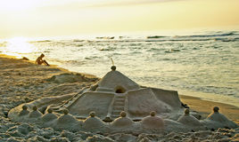 Sand castle in sanset light Royalty Free Stock Photos