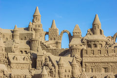 Sand castle with several towers Royalty Free Stock Photography