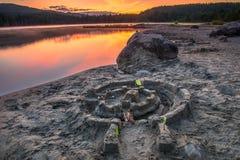 Sand Castle Sunset Stock Photography