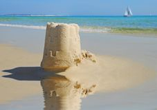 Sand Castle by Tide Pool royalty free stock photo