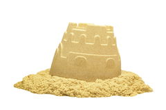Sand Castle Tower Isolated On White Background Stock Photography