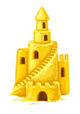Sand castle with towers windows and stairs stock illustration