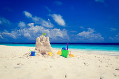 Sand castle on tropical beach Stock Photography