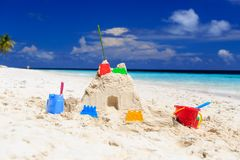 Sand castle on tropical beach Royalty Free Stock Photography
