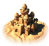 Sand castle on the white background. Sand castle with 3d illustration Stock Photo