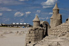 Sand Castle and Wildwood Convention Center Royalty Free Stock Photo