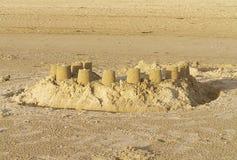 Sand Castles. On a beach stock image