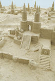 Sand Castles. Many sand castles along the beach front Stock Image