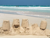 Sand castles. On a beautiful stock photography