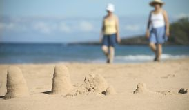 Sand castles on the beach Stock Photography