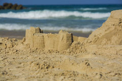 Sand castles on beach Royalty Free Stock Images