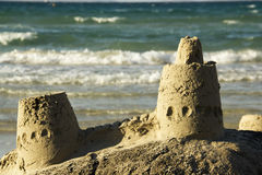 Sand Castles. On The Coast stock photography