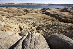 Sand Castles of Diefenbaker Lake Stock Photos