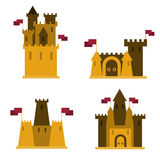 Sand castles, set of 4 pieces, with flags on them. Stock Photos