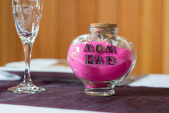 Sand Ceremony Jar with Mom and Dad Royalty Free Stock Image