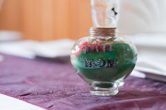 Sand Ceremony Jar with Mom and Dad Royalty Free Stock Photography
