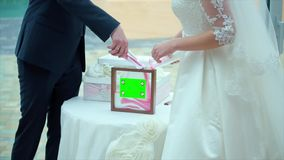 Sand Ceremony at the Wedding stock video footage