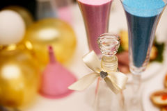 Sand ceremony on wedding, glass vase for bride and groom. Marriage concept. Pink and blue Stock Photography