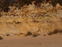 Sand Cliffs In Albufeira. Sand cliffs and beach in the Algarve region of Portugal in Albufeira stock image