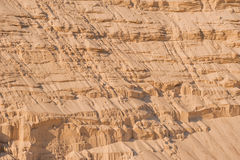 Sand cliffs in industrial quarry background Stock Photos