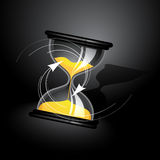 Sand Clock. A 3D illustration of a sand-clock with arrows showing the direction of its rotating Royalty Free Stock Photos