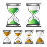 Sand Clock Glass Timer Icons on White Background. Vector. Illustration Stock Photos