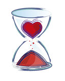 Sand clock. Illustration of a sand clock. The hand is forming a heart, meaning the donation of time to others stock illustration