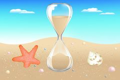 Sand Clock On Seaside. Vector Royalty Free Stock Photos