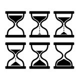 Sand Clock Set. Glass Timer on White Background. Vector Royalty Free Stock Images