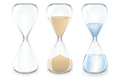Sand Clocks. Vector. Sand, Water and Empty Clocks, Isolated On White Royalty Free Stock Photos