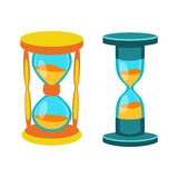 Sand clocks vector isolated. Sandglass icon time flat design history second old object. Vector illustration sand clock hourglass timer hour minute watch stock illustration