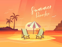 Sand coast or beach with deck chair and umbrella Royalty Free Stock Photo