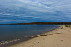 Sand coast in Pictured Rocks National Lakeshore, USA. Sand coast in Pictured Rocks National Lakeshore, Munising, MI, USA. Log on the foreground Royalty Free Stock Image