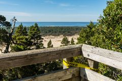 The sand and coastline from a high point of view over the Oregon dunes royalty free stock photo