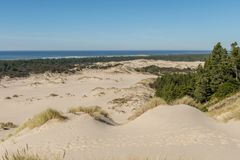 The sand and coastline from a high point of view over the Oregon dunes royalty free stock photography